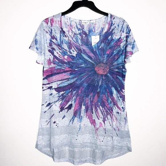c8a9d461a Cato Tops | Hilo Floral Metallic Print Top Flower | Poshmark